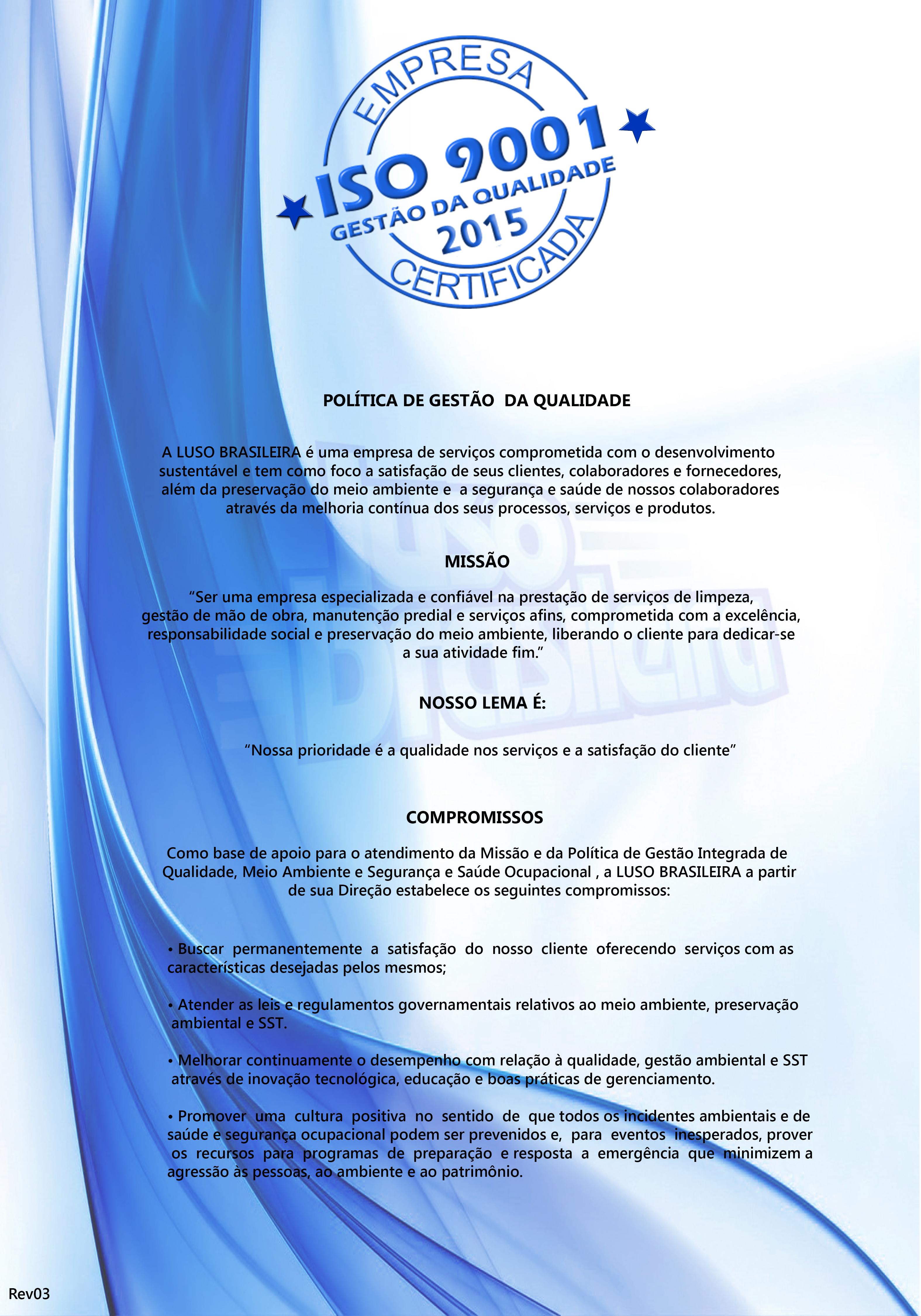 Politica Missao ISO 9001 2017